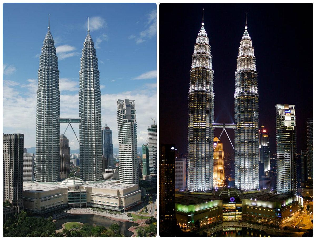 Malaysia-petronas-Twin -tower-night-and-day