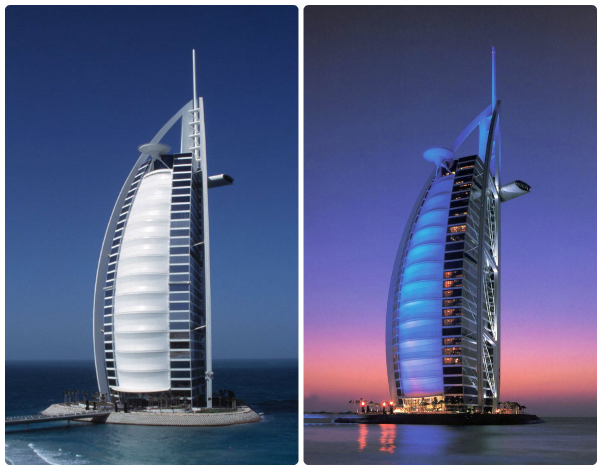 dubai-BurjAlArab-night-and-day